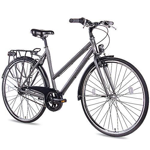 CHRISSON 28 Zoll Citybike Damen - City One anthrazit matt 53 cm - Damenfahrrad mit 7 Gang Shimano Nexus Nabenschaltung - praktisches Cityfahrrad für Frauen