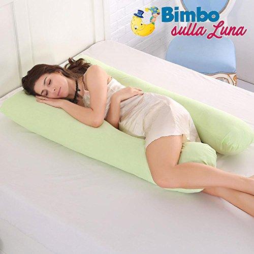 Ducomi babyluna - cuscino allattamento e gravidanza - doppia fodera 100% cotone bio lavabile (110 x 60 cm) sostegno corpo a forma u per mamma e neonati - supporto schiena, gambe, pancia (green)