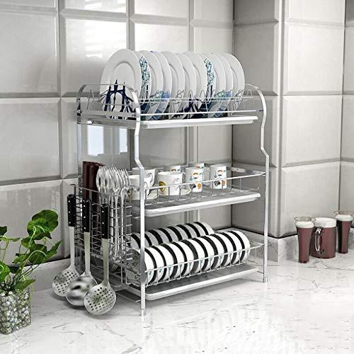 ACZZ Küchenregal mikrowelle rack küche edelstahl geschirrträger organizer und tropfschale küche regale lagerregal,C -
