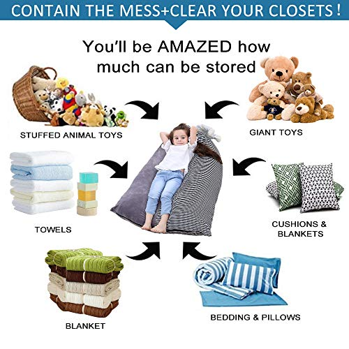 Stuffed Animal Bean Bag Chair Kids Toy Storage Organizer Stuffie Seat, Foldable Floor Chair Sofa Toy Storage Bean Bag…