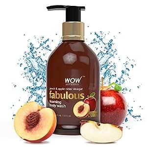 WOW Fabulous Foaming Body Wash - No Parabens & No Sulphates - Peach & Apple Cider Vinegar Shower Gel - 300 ml