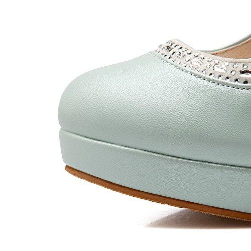 VogueZone009 Femme Matière Souple Rond Fermeture DOrteil à Talon Haut Tire Couleur Unie Chaussures Légeres Bleu