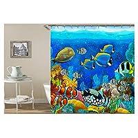 Amody 3D Digital Printing Underwater World Fish School Shower Curtain Bathroom Curtain Durable Waterproof Bath Curtain Blue Size90X180