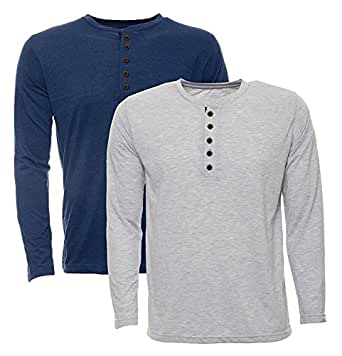 aarbee Men's Cotton T-Shirt - Combo of 2 Full Sleeve-Blue-Grey-S, Grey and Blue, Small