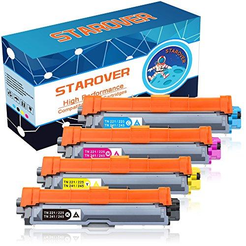 STAROVER 4x Kompatibel Tonerkartuschen Ersatz für Brother TN241 TN-241 TN245 TN-245 Toner Patronen für Brother DCP-9020CDW DCP-9015CDW DCP-9022CDW HL-3140CW HL-3150CDW HL-3170CDW HL-3142CW HL-3152CDW HL-3172CDW MFC-9340CDW MFC-9140CDN MFC-9330CDW MFC-9130CW MFC-9142CDN MFC-9342CDW MFC-9332CDW (TN-241BK / TN-241C / TN-241M / TN-241Y)
