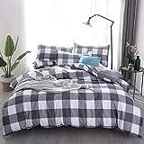 Bettbezug Set Gitter 3 Stück Super Weiche und Angenehme Mikrofaser Einfache Bettwäsche Gemütlich Enthalten & Kissenbezug Betten Schlafzimmer