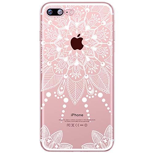 Homikon [Liquid Crystal Ultra Mince TPU Silicone Coque Fleur Motif Etui de Protection Souple Transparent Clear Case Soft Flexible Housse Étui Case Cover Couverture pour iPhone 6/6S - Mandala#8