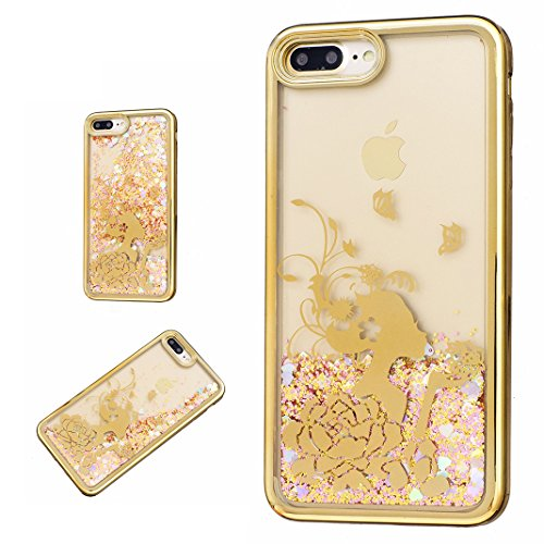 iPhone 7 PLUS Hülle OuDu Glitzern Funkeln Hülle TPU Silicone Etui für iPhone 7 PLUS Bling Glitter Case Soft Lightweight Bumper Sparkle Style Cover Flexible Schlanke Schale Glatte Leichte Tasche Ultra  Blumenschönheit