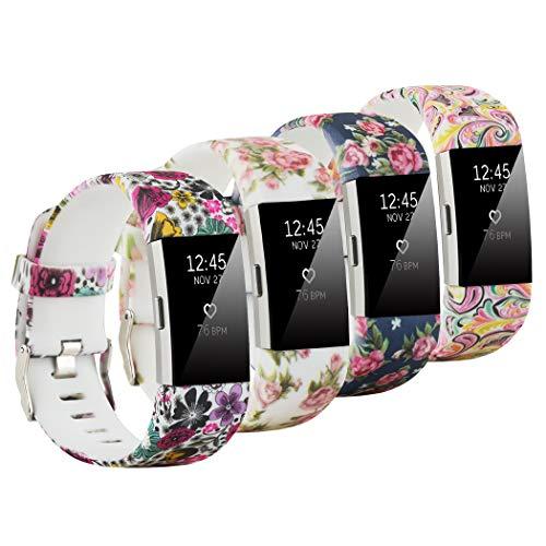 Fit-power Armbänder für Fitbit Charge 2, weich, verstellbar, für Sport und Freizeit, 2 Größen L Pack of 4A