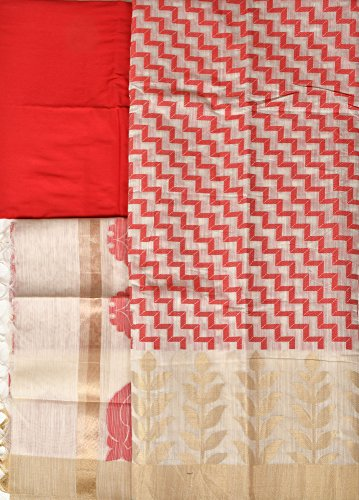 Exotic India Salwar Kameez Fabric from Banaras with Zigzag Weave and Golden...