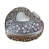 Wing Caja de joyería de Metal Vintage Caja de Anillo de Bodas con Organizador de Almacenamiento de baratija en Forma de corazón, Caja de Regalo, Plata Antigua, 6 × 6 × 3,4 cm