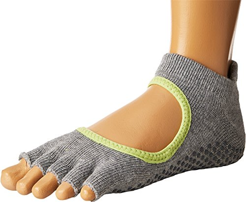 Toesox Half Toe Bellarina Calcetines de Yoga, Unisex Adulto, Gris (Heather) / Verde (Lime), XS