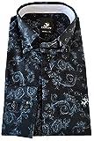 Culture Designerhemd, Modern fit, Langarm in Schwarz mit grauem Blumenmuster (52)