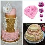 Générique 4 taille roses fleur silicone gâteau moule chocolat Sugarcraft décoration fondant fimo cadeau outil
