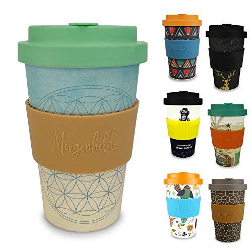 Morgenheld Dein trendiger Bambusbecher | Coffee-to-Go-Becher Blume des Lebens | Kaffeebecher mit Schraubdeckel und Banderole in coolem Design 400 ml Füllmenge