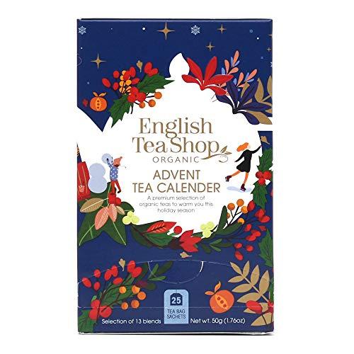 English Tea Shop Adventskalender mit 25 Bio-Teesorten mit den Aromen der Feiertage - 1 x 25 Pyramidenfilter (37,5 Gramm)
