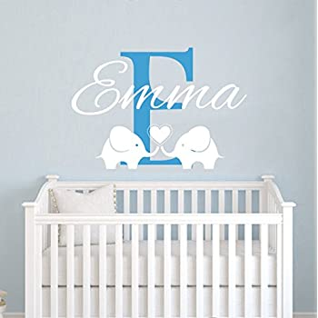 Childrens Name Elephant Wall Decal Name Wall Decal Baby Girls - Nursery wall decals elephant