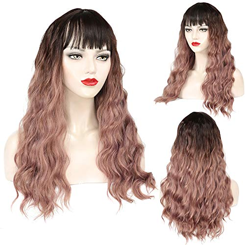 nghaar gewellt Hitzebeständiger Kunstfaser Wie Echthaar Diverse Farben und Stil Full Wig Long Flaxen Hair Wig Ladies Kinky Curly Fashion Wigs Ombre Cosplay Dark Root ()