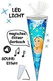 Sound Modul & LED Licht Effekt ! - Schultüte -  Prinzessin / Schneekönigin - Eisprinzessin  - 70 cm - rund - Filzabschluß - Zuckertüte - mit / ohne Kunststo..