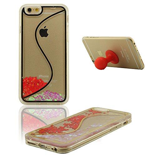 Apple iPhone 6S Carcasa Protectora, Rígido Transparente PC Fluida Corazones de colores Diseño Líquido Funda Case Protectora para iPhone 6S / 6 4.7 inch + Silicona
