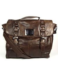 Chocolate Brown Real Genuine Leather Handbag Ladies Satchel Shoulder Bag.