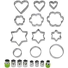 JUSLIN 20 Conjuntos de molde de acero inoxidable, 12 Moldes de galletas de metal, 3 en forma de estrella, 3 en forma de flor, 3 en forma de ronda, 3 en forma de corazón (de tamaño diferente), y 8 moldes de verduras de metal para adornar los alimentos