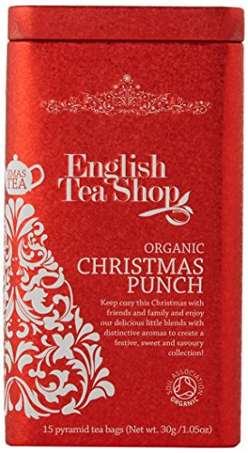 English Tea Shop Organic Christmas Punch Square Gift Tin- 15 Pyramid Tea Bags