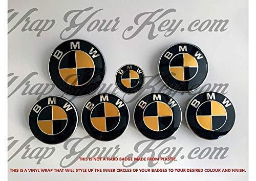 Nero & Oro Lucido Emblema Distintivo Vinile Overlay Adesivo Copertura per BMW Cofano Baule Cerchi Dischi Tutte Serie 1,2,3,4,5,6,7,X1,X2,X3,X4,X5,X6,Z1,Z3,Z4,Z8,M SPORT,X-Drive Id: 7439701537592