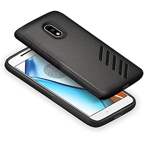 Orzly® Grip-Pro Case para MOTO G4 & G4 PLUS SmartPhone (2016 Lenovo / Motorola Modelo Teléfono Móvil) - Funda durable y ligero Capa Doble de mayor agarre y defensa - NEGRO