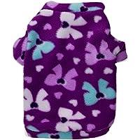 Polar Fleece pet cappotto caldo morbido accogliente stampa del cotone t-shirt vestiti del cane 3 colori 4 formati 2 pezzi , purple , l