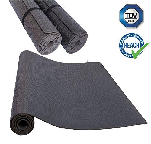 HD Fitness appetino antiscivolo per tappetino in EVA Tappetino per yoga leggero antiscivolo e insonorizzante - Tappetino protettivo per pavimentazione,Testato TÜV e SGS, Nero 235x115cm