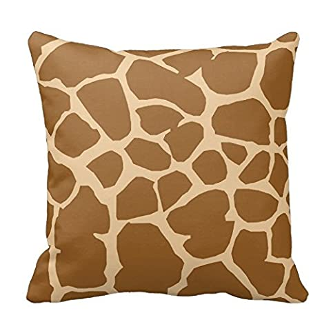 Brown and Khaki Giraffe Animal Print Zippered Decorative Pillow Cushion Case Covers for Sofa 16x16 Inch Two