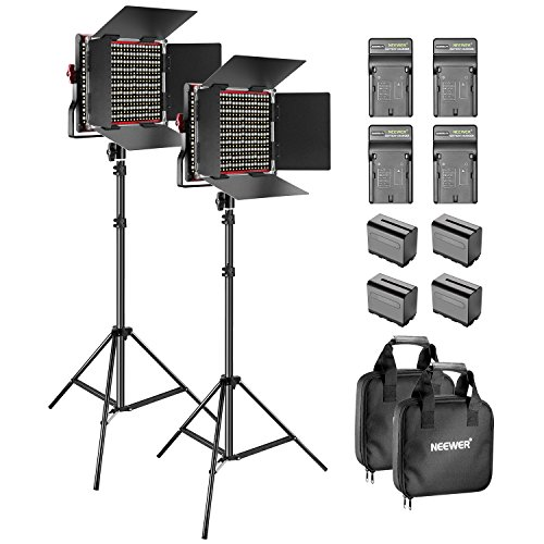 Neewer 2-Pack Dimmable Bicolour 660 Video LED-Leuchte mit Barndoor und 6,5 Füße, Lampenhalterung 4 x 6600 mAh, Li-ion-Batterien für Foto Studio YouTube Video Riprese(Rot) 2 Light Studio Kit