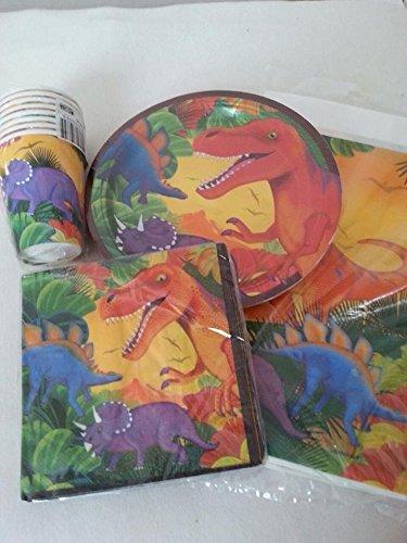 Dinosaurio Grande Party Set–8unidades vasos–8STK–Plato 16STK Servilletas–Mantel 137x 259cm–Amscan dinosaurios Party Vajilla