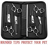Augymer Pet Grooming Scissors Kit, 5 PCS Rounded Tips Curved Pet Grooming Shears For Cats Dogs Stainless Steel Scissor With Combs Trimmer Kits For Body Face Ear Nose Paw