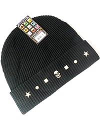 PRESKIN - bonnet tricoté élégant avec l'application du crâne de Skull Glitter strass, Cool - mais chaleureux, streetwear, unisexe, One Size