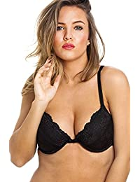 Camille Womens Black Floral Lace Push Up Plunge Padded Underwired Bra