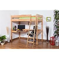 Preisvergleich für Kinderbett Hochbett Patrick Buche massiv Natur mit Schreibtischplatte, inkl. Rollrost - 90 x 200 cm