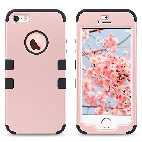 ULAK - Cover per iPhone 5S , iPhone SE / 5 Custodia ibrida a protezione integrale con parte esterna in 3 strati di morbido silicone e interno rigido per Apple iPhone 5S /5 /SE -Nero E- Oro Rosa+Nero