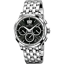 Men Eberhard 31125CAD quandrante Black Strap Stainless Steel Mechanical Watch