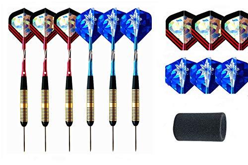cdsnxore Dartpfeile mit Metallspitze,6 Stück Steel Darts Pfeile Set,23 Gramm Profi Steeldarts mit Metallspitze,Darts Steel,DAR