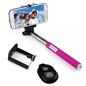 Fordex Group Extendable Selfie Stick Handheld Monopod +Clip Holder+Bluetooth Camera Shutter Controller for Travel Take Photo (Rose)