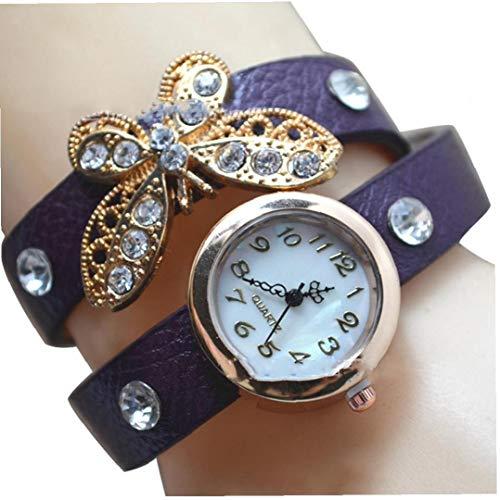 Le donne analogico orologio al quarzo con fascia da braccio in pelle braccialetto farfalla elegante...