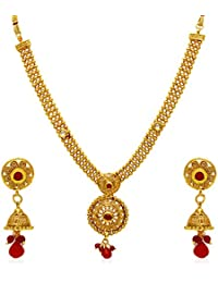 Jewels Galaxy Gold Plated Jewellery Set For Women (Multicolor)(NC-509)