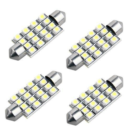 Neuftech 4x 42mm 16 1210 SMD LED Soffitte KFZ Innenraum Beleuchtung Kennzeichenbeleuchtung -Weiß (Led-soffitte Weiße)
