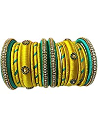 Buds To Blossoms Bangles Collection For Women(Silk Thread Bangles For Women ,Color-Yellow & Green,Size-2.4)