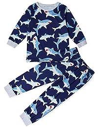 TUONROAD Niños Pijama Estampado Ropa de Dormir Manga Larga Pjs 2 Piezas Mono para niños Edades 2-9 años