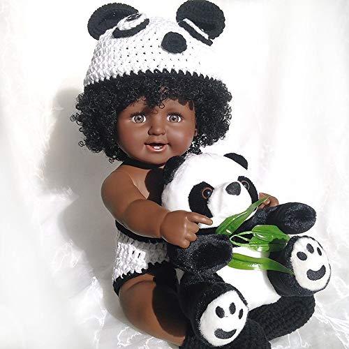 Rocking Horse Reborn Boy Baby Doll 20 Zoll Afrikanische Lebensechte Puppe Panda Kostüm Unisex Spielzeug (1 Jahr Alten Panda Kostüm)