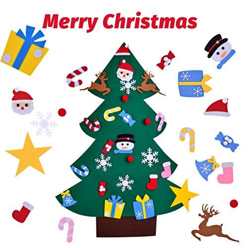 Rooya baby albero di natale in feltro decorazioni per bambini kit con 24 pezzi ornamenti da decorativo diy staccabile decorazione da parete per porte di casa per natale capodanno
