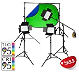 PIXAPRO VNIX1000B bicolore Tre testa LED Video Kit Accensione Chiave cromatica Green Screen Intervista Pellicola YouTube Tutorial VLOG Slow Motion Regolabili DMX Uscita 2 Year garanzia di Regno Unito